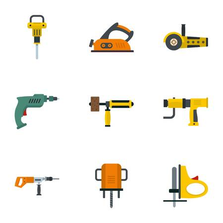 Electric tool icon set, flat style