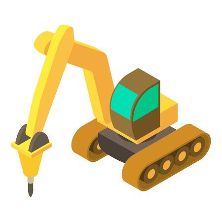 Yellow excavator hammer icon, isometric 3d style
