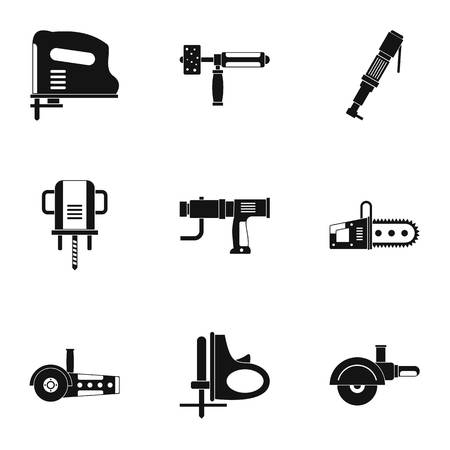 Power tool icon set, simple style