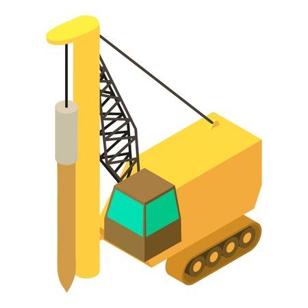 掘削マシン アイコン、等角投影の 3d スタイル  イラスト・ベクター素材