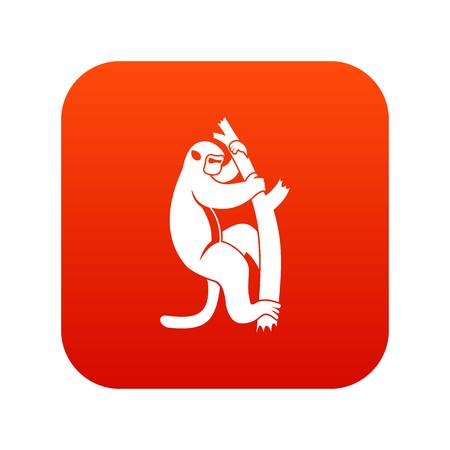 Macaque on a tree icon digital red