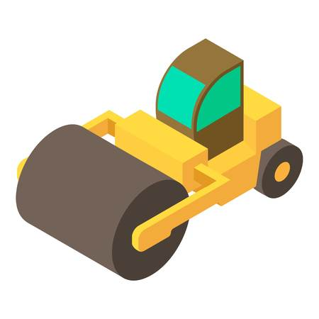 steamroller: Road roller icon, isometric 3d style