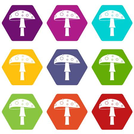 Amanita icon set color hexahedron Illustration