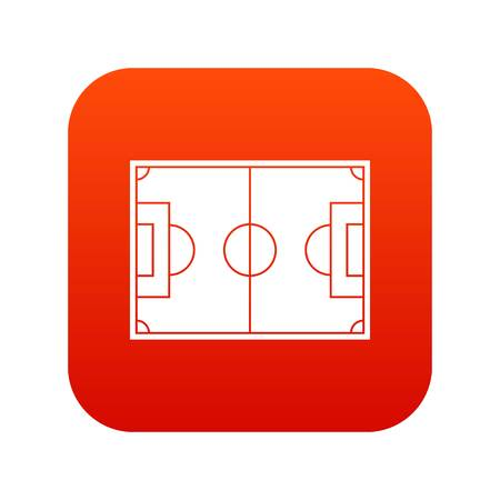 Soccer field icon digital red