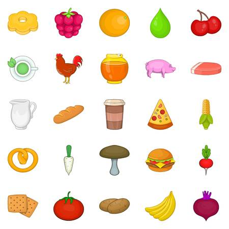 Fresh food icons set, cartoon style Illustration