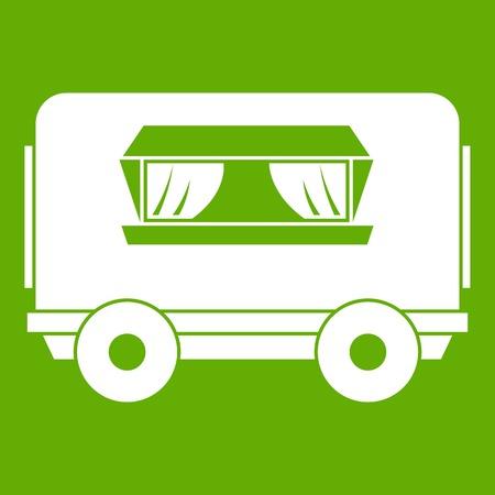 Food trailer icon green Illustration