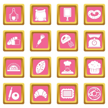 rolling bag: Bakery icons pink Illustration