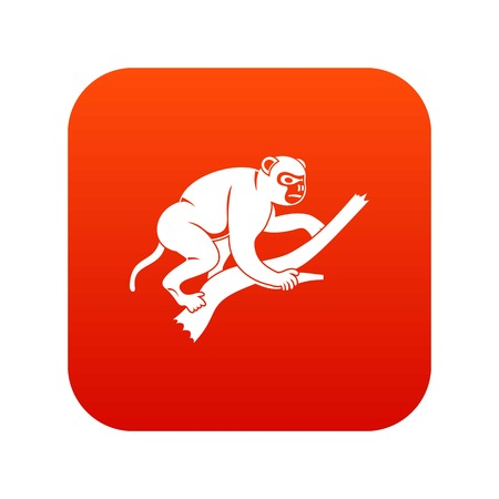 Monkey is climbing up on a tree icon digital red
