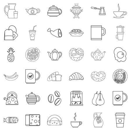 hot dog: Hot tea icons set, outline style