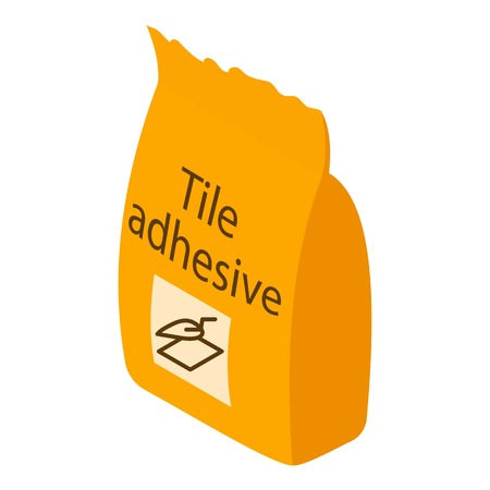 Tile adhesive icon, isometric 3d style Illustration