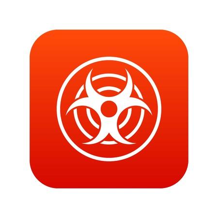 riesgo biologico: Muestra del icono de amenaza biológica digital rojo