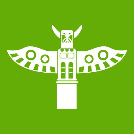 Traditional religious totem pole icon green Illustration