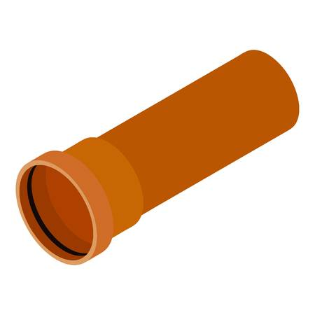 Plastic pipe icon, isometric 3d style Illustration