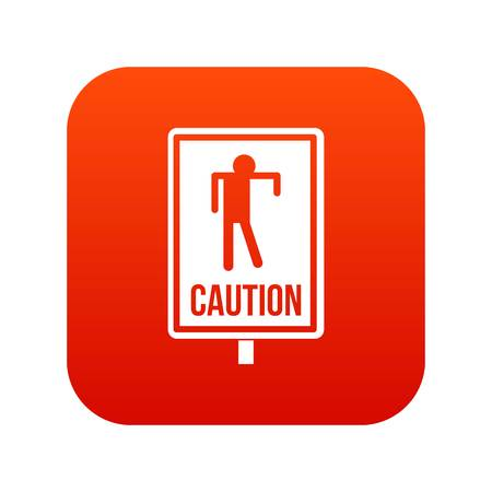 Zombie road sign icon digital red