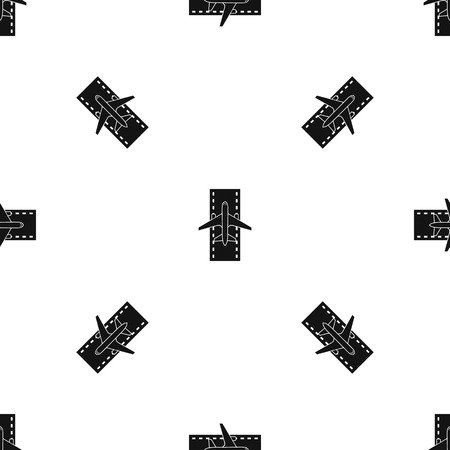 Airplane on the runway pattern seamless black Illustration