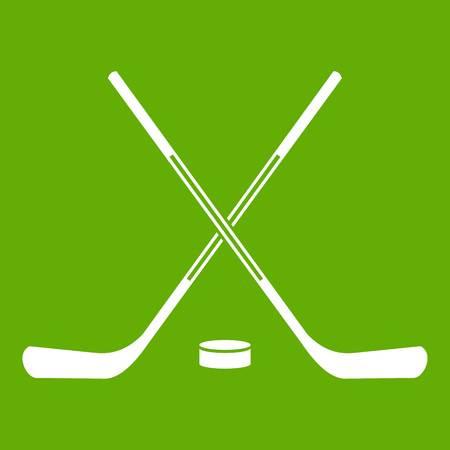Ice hockey sticks icon green