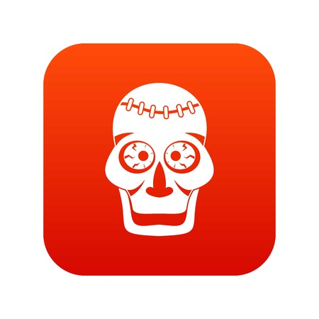 Skull icon digital red for any design isolated on white vector illustration Illustration