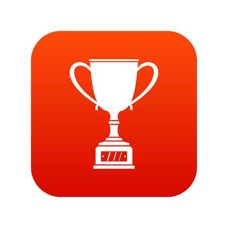Winner cup icon digital red for any design isolated on white vector illustration Illustration