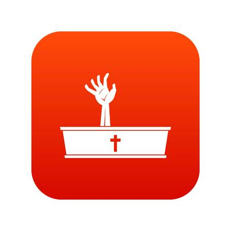 Zombie hand coming out of his coffin icon digital red for any design isolated on white vector illustration Illustration