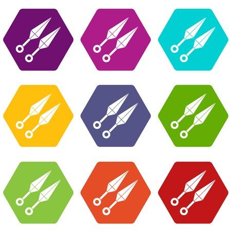 ninja tool: Ninja weapon kunai icon set color hexahedron