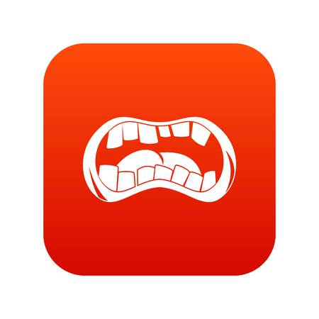 Zombie mouth icon digital red Illustration