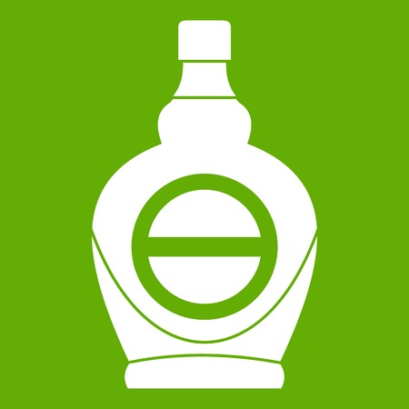 Maple syrup in glass bottle icon green Illustration