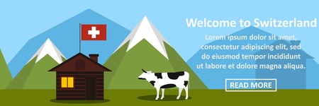 Welcome to switzerland banner horizontal concept vector illustration.
