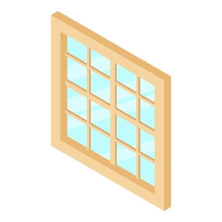 lattice window: Lattice window frame icon, isometric 3d style Illustration