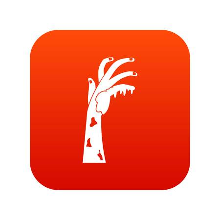 ominous: Zombie hand icon digital red