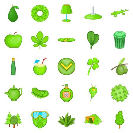 Power of nature icons set, cartoon style