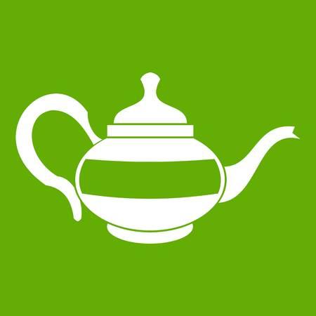 modern kitchen: Teapot icon white isolated on green background. Vector illustration