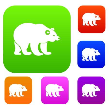 クマは、異なる色分離ベクトル図でアイコンを設定します。プレミアム コレクション  イラスト・ベクター素材