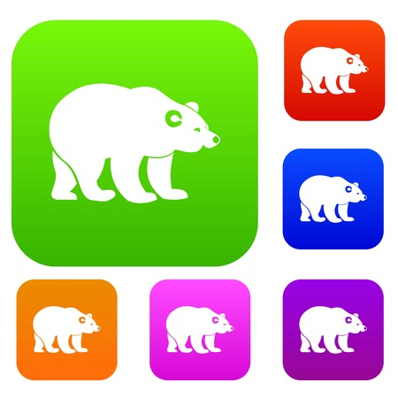 Bear set icon in different colors isolated vector illustration. Premium collection