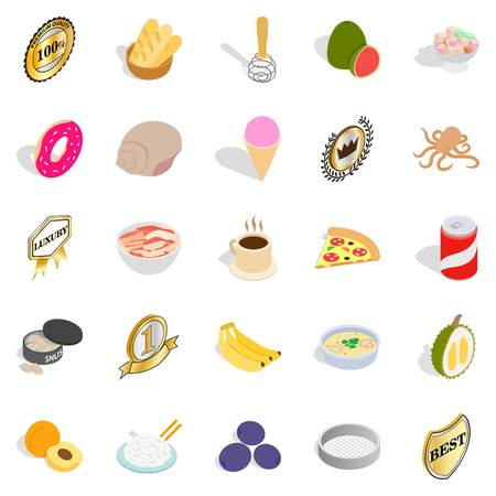 Cereal icons set. Isometric set of 25 cereal vector icons for web isolated on white background