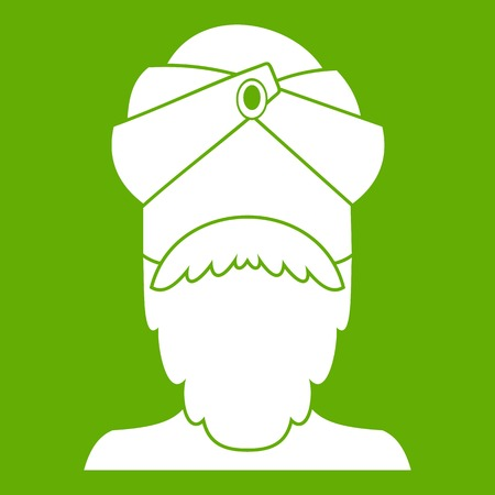 Indian man icon white isolated on green background. Vector illustration