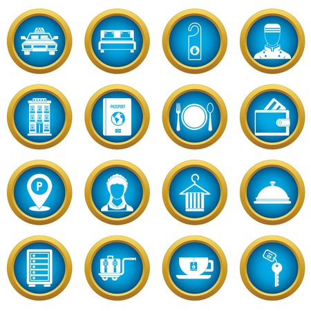 Hotel icons blue circle set isolated on white for digital marketing