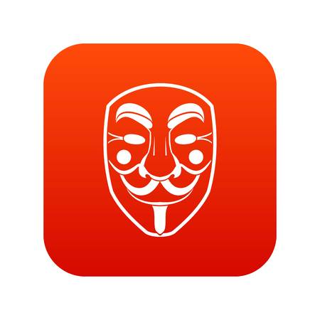 Vendetta mask icon digital red for any design isolated on white vector illustration