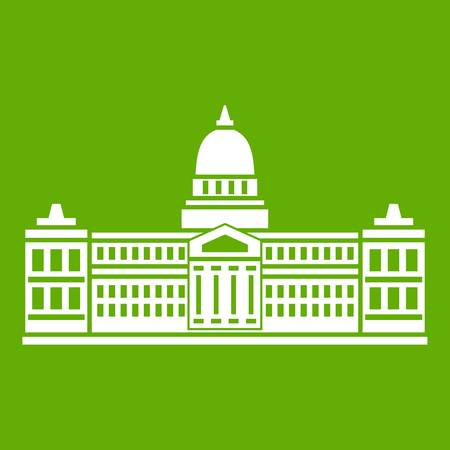 Palace of Congress in Buenos Aires, Argentina icon white isolated on green background. Vector illustration Illustration
