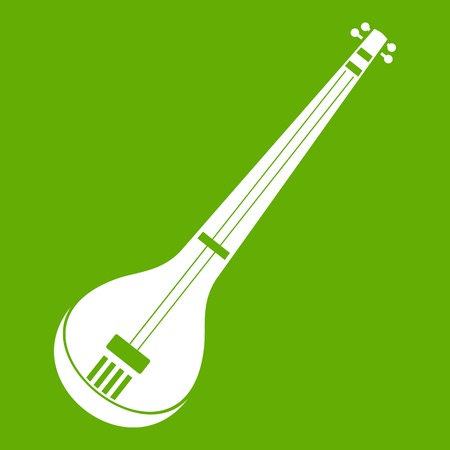 Indian guitar icon white isolated on green background. Vector illustration