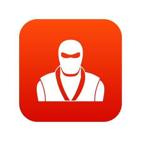 Ninja in black mask icon digital red for any design isolated on white vector illustration Vector Illustration