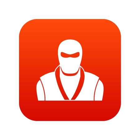 Ninja in black mask icon digital red for any design isolated on white vector illustration