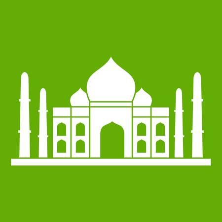 Taj mahal icon white isolated on green background. Vector illustration