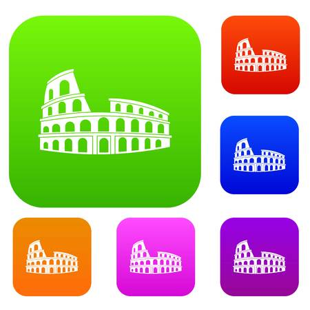 Roman Colosseum set icon in different colors isolated vector illustration. Premium collection Ilustrace