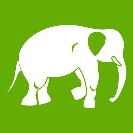 Elephant icon white isolated on green background. Vector illustration Ilustração