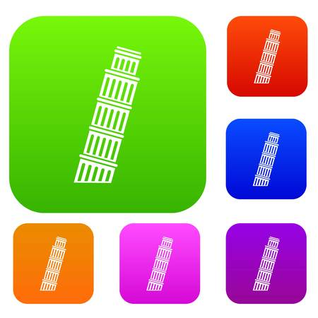 leaning tower of pisa: Tower of Pisa set icon in different colors isolated vector illustration. Premium collection