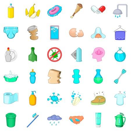 Bathing icons set. Cartoon style of 36 bathing vector icons for web isolated on white background Illustration