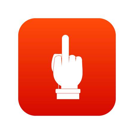 Middle finger hand sign icon digital red for any design isolated on white vector illustration