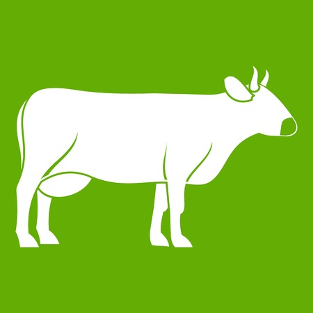 Cow icon white isolated on green background. Vector illustration Illustration