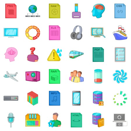 css: Raw file icons set. Cartoon style of 36 raw file vector icons for web isolated on white background