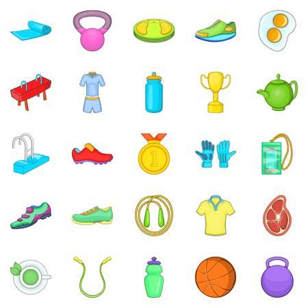 Gym icons set. Cartoon set of 25 gym vector icons for web isolated on white background Illustration